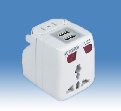 World Travel Adapter with 2 USB Charger (SE-MT82)