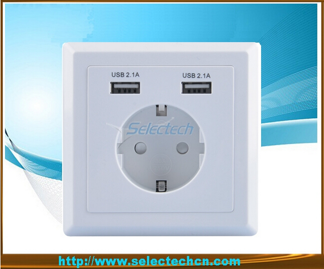 Germany Socket Dual USB Wall plate Charger USB-20B